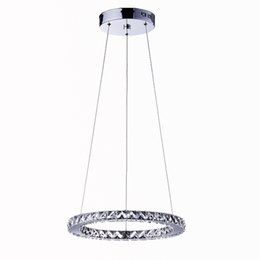 Wholesale Diamond Semi Mountings - Modern Round LED Crystal Chandelier Light Diamond Ring Ceiling Light Lighting LED Crystal Pendant Light 110-240V K9 Crystal lamp D30cm