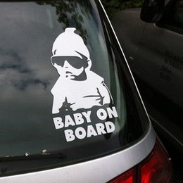 Wholesale Car Decals Baby Board - Wholesale Fashion Lovely Baby On Board Warning Decal Reflective Waterproof Car Window Vinyl Stickers Color Black White