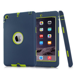Wholesale Heavy Duty Case For Ipad - Armor Shockproof Heavy Duty Silicone Hard Case Cover for iPad 2 3 4 5 6 air air2 mini 1 2 3 ipad2 Shock-Absorption Armor Protective Cases