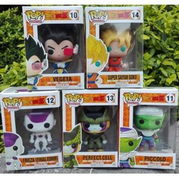 Wholesale Cell Action Figure - FUNKO POP Dragon Ball Z Son Goku Vegeta Piccolo Cell Charoux PVC Action Figure Collectible Model Toy Retail
