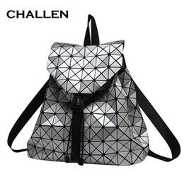 Wholesale Diamond Pillow - Women Backpack Feminine Geometric Plaid Sequin Female Backpacks For Teenage Girls Bagpack Drawstring Bag Holographic Backpack