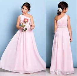 Wholesale Cheap Sequin Little Girl Dresses - Pink One Shoulder Junior Bridesmaid Dresses 2018 A Line Chiffon Little Flower Girl Dresses For Weddings Cheap Floor Length Kids Wear