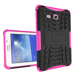 Wholesale 7inch Cases Green - For Samsung Tab 3 lite T110 T111 tab 4 lite T116 7inch dazzle case tire pattern tpu+pc Kickstand Hybrid robot phonecase