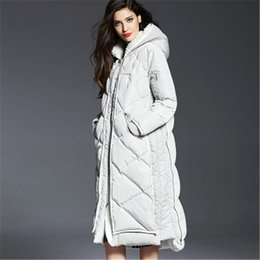 Wholesale Down Coat Europe - Wholesale-Europe And America Women 2016 Winter X-Long A-Line Plus Size Hooded Thick White Duck Downs Coats Female Jackets Parka LJ3116