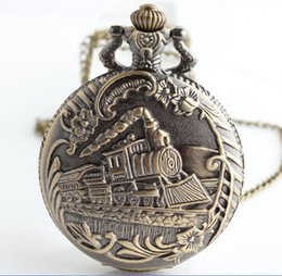 Wholesale Skeleton Watch Necklace - Vintage Antique Bronze Train Carved Steampunk Gears Skeleton Quartz Pocket Watch Pendant Necklace Men Clock Women Chain Gift