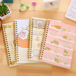 Wholesale Diary Covers - Wholesale-Cute Cartoon Rilakkuma Sumikko Gurashi Hard Cover Colored Page Coil Book Portable Pocket Notebook Diary Notepad