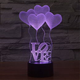Wholesale Led Light Day Night - 3D Valentine's Day heart-shaped balloon LOVE Bulbing Romantic Night Light Lamp Colorful Acrylic home bedroom lamp-3D-TD10