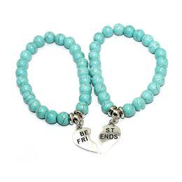 Wholesale Beaded Mothers Bracelets - Turquoise Stone mother and baby bracelents Friendship Bracelets Love Charm Jewelry for Women Men Gift Fashion Elastic Beaded Bracelets