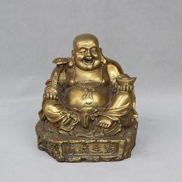 three buddha statues Australia - China Brass Wealth Maitreya Buddha ruyi Rely On Money Bag YuanBao Statue home decoration