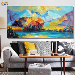 Wholesale Original Handmade Landscape Oil Painting - ART Original Mountain Landscape Handmade Modern Abstract Oil Painting on Canvas Wall Art Gift for Living Room Decor