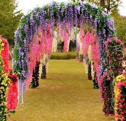 Décorations de lierre en Ligne-Livraison gratuite artificielle ivy fleurs soie fleur Wisteria vigne fleur rotin pour centres de mariage décorations Bouquet guirlande maison Ornam