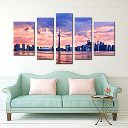 Wholesale City Decorations - 5 Piece Wall Art Painting Toronto Prints On Canvas The Picture City Oil For Home Modern Decoration Print Decor For Furniture