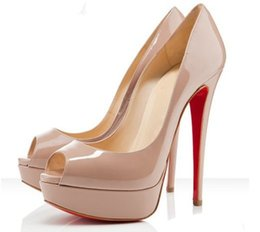 Wholesale Nude Peep Toe Heels - Fashion 14cm Heel Women Nude Patent Leather Leather Peep-toes High Heels ,Desiger Platform Shallow Mouth Women's Dress Shoes Women Pumps