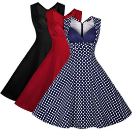 Wholesale Dress Cotton Vintage Sleeve - New Hot Good Selling Ladies Women Casual Fashion Summer Retro Polka Dot Sleeveless Slim Tutu Dresses Cloths 2241