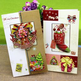 Wholesale Good Wishes - New Arrival Good Price 8 Pcs Cartoon Christmas Greeting Cards Wish Cards With An Envelope
