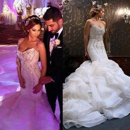 Wholesale Strapless Beach Wedding Bride - 2016 New Arrival Fall Winter Saudi Arabic Wedding Dresses vestidos de noivas Mermaid Crystal Wedding Dresses For Bride Organza Ruched