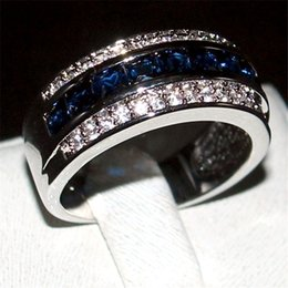 Wholesale Sapphire Ring Sets - Luxury Princess-cut Blue Sapphire Gemstone Rings Fashion 10KT White Gold filled Wedding Band Jewelry for Men Women Size 8,9,10,11,12