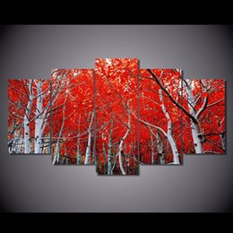 Wholesale Autumn Oil Paintings - 5 Pcs Set Framed Printed red autumn Maple Leaf Painting Canvas Print room decor print poster picture canvas Free shipping NY-5731