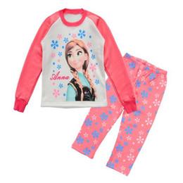 Wholesale Princess Pyjamas - Princess Children Pajamas Suits Long Sleeve Cartoon Costumes Pyjamas kids leisure wear Girls home clothes 8y 9y 10y 11y 12y WQBL