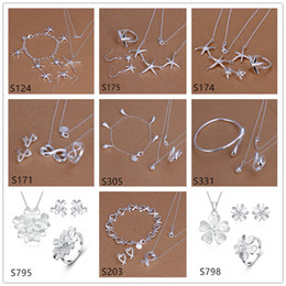 Wholesale Cheap Indian Fashion Earrings - mixed style women's sterling silver jewelry sets,cheap fashion 925 silver Necklace Bracelet Earring Ring jewelry set GTS58