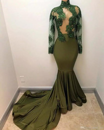 Wholesale Navy Silk Robes - 2018 New Olive Mermaid Long Prom Dresses High Neck Illusion Bodices Sheer Long Sleeves Robe De Soiree Evening Gowns Vintage Lace Gowns