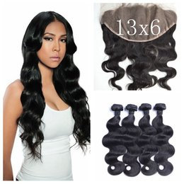 Wholesale Indian Virgin Closure Piece - Mongolian Virgin Hair With Closure Free Middle Three Part 13x6 Frontal Lace Closure With Bundles Mongolian Body Wave G-EASY Hair