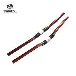 Wholesale Mtb Riser Handlebar - TMAEX- PRO Carbon Handlebar Full Carbon Fiber MTB Bicycle Bend Riser Handlebar Straight Flat Handlebar Red Glossy 31.8mm