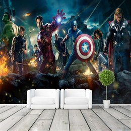 Wholesale Heat Movies - Customized Non-woven 3D Large Murals TV Background Wallpaper The Living Room Sofa Cafe The Avengers Movie Poster Wallpaper