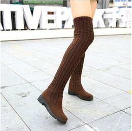 Wholesale Elastic Net Fabric - 2017 Fashion Knitted Women Knee High Boots Elastic Slim Autumn Winter Warm Long Thigh High Boots Woman Shoes Size 40
