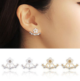 Wholesale Earring Nails - High quality Anti allergic Pure silver jewelry s 925 Sterling silver daisy flower front and back two sided stud earrings Ear nail Korean