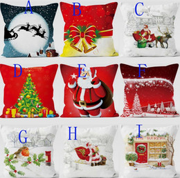 Wholesale Wholesale Kid Pillow Cases - 2017 Christmas Pillow Case festival Decorative Pillow Cover Car Sofa Cushion Santa Claus Reindeer Xmas Gift soft material hot in Russia