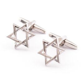Wholesale Male Jewellery - Free shipping Jewellery silver six pointed stars cufflinks male French shirt cuff links for men's Jewelry Gift 930006