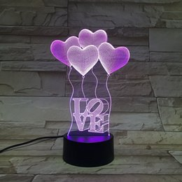 Wholesale Night Light Shop - Creative Touch LED 3D light illusion love USB Touch Night Light Sculpture Desk Lamp Art Room shop Christmas Decor festival party gift