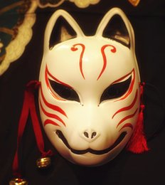 Wholesale japanese school cosplay - Full Face Hand Painted Japanese Fox Mask Kitsune Cosplay Masquerade Halloween