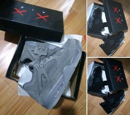 Wholesale X Men Latex - KAWS X 4 XX Cool Grey Kaws 4s Black Suede Grey White Glow Best Quality With Box White Blue black Wholesale Basketball Shoes Men
