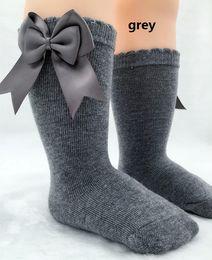 Wholesale Girl Socks Ribbons - 10 colors ! 2016 UK New Girl Socks Baby ribbon Bow Sock High 3 4 Knee Kids Socks fit 2-6T Fine warm legs baby socks Hair bow clip 5pairs