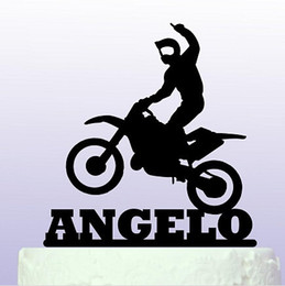 Wholesale Baby Toppers - wholesale Acrylic Personalised name Fun Motocross birthday cake toppers wedding bridal baby shower Bachelor party decorations