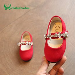 Wholesale Toddler Shoes Crystal - Wholesale- Claladoudou 2017 Baby Girls Shoes Softwalk Shoe For Children Girls Stone Footwear Red Crystal Spring Toddler Girl Spring Shoe