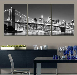 Wholesale New York Bridge - 3 Piece Free Shipping Hot Sell Modern wall Painting New York Brooklyn bridge Home Decorative Art Picture Paint on Canvas Prints