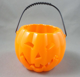 Wholesale Halloween Pumpkin Bucket - Halloween pumpkin bucket Halloween decoration supplies kindergarten bar props hollow pumpkin lights pumpkin tank wholesale