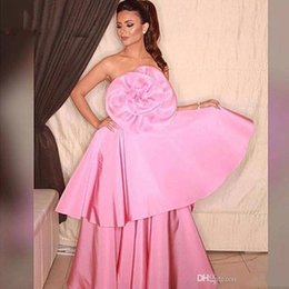 Wholesale Sexy Big Formal Dresses - 2017 New Arrival Big Flower Satin Pink Evening Dresses Formal Pageant Dresses Middle East Style Saudi Lady Fashion Prom Party Gowns