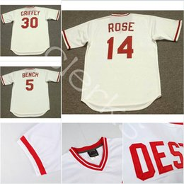 Wholesale Baseball Benches - Customized 1975 Cincinnati CIN 14 Pete Rose 5 Johnny Bench 30 Ken Griffey 8 Joe Morgan 13 Dave Concepcion Perez Throwback Baseball Jerseys