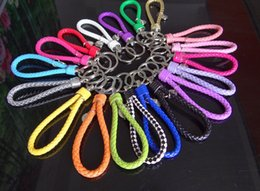 Wholesale Strap Bags For Men - hot sale PU Braided rope key chains for key bag' straps purple pink white black