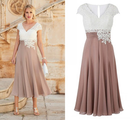 Wholesale Tea Length Dresses Wedding Guest - Real Image Lace Chiffon Mother Of The Bride Dresses V Neck Cap Sleeves Tea Length Flowy Mother Prom Dresses Wedding Guest Dress