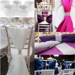 Wholesale Diamond Chair Sash - Silvery Napkin Ring Diamond Mesh Wrap 8 Rows Rhinestone Napkin Ring Party Chair Sash Decor OOA2450
