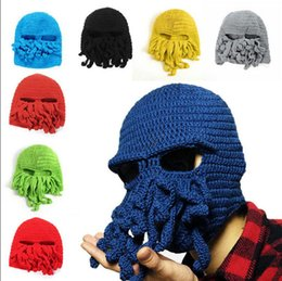 Wholesale Adjustable Skull Face Mask - Octopus Knitted Ski Beanie Face Mask Knit Hat Squid Cap Beanie Funny Tentacle Octopus Hats 100pcs OOA2913