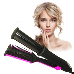 Wholesale Hot Perm Curls - Temperaturkontroll Hair räta Curling Perm Roterande Hot Irons 3 I en rak Corn Wave lockiga Roterande Iron