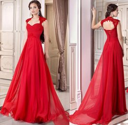 Wholesale Sexy Party Dresses China - 2016 Formal Red Prom Gown Dress Corset Chiffon Full Length Lace Up A-line Prom Dresses Cap Sleeves Occasion Party Gowns Free Shipping China