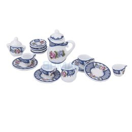 Wholesale Dollhouse Tea Set - Hot Sale Brand New 15pcs Dollhouse Miniature Dining Ware Porcelain Tea Set Dish Cup Plate British Style Blue Free Shipping