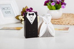 Wholesale Dress Shaped Cards - 100Pcs Bridal Gift Cases Groom Tuxedo Dress Gown Ribbon Wedding Favor Candy Box For Wedding Party Favor 2016 June Style